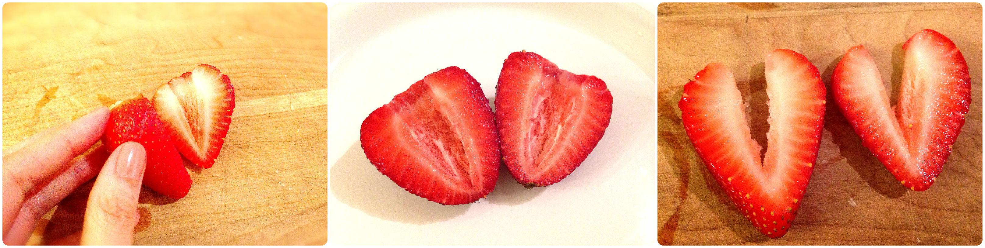 超可爱!爱心形状的草莓切法